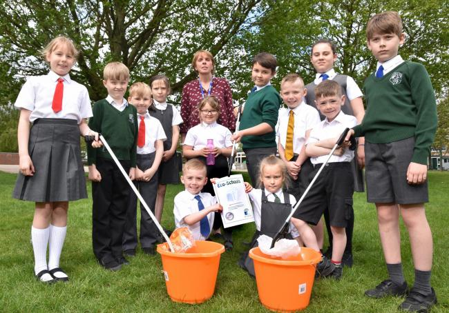 Malton Primary School celebrate after receiving a silver eco award          Picture: Frank Dwyer