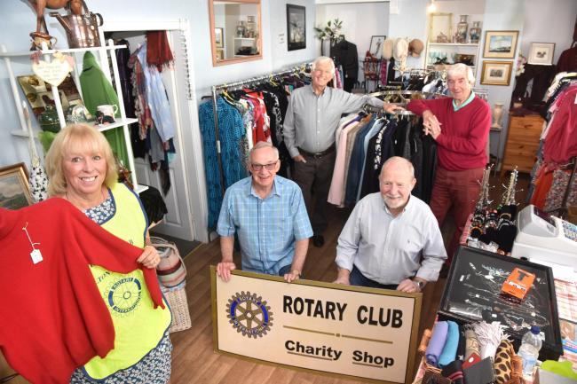 Malton and Norton Rotary Club members Angela Joseph, Alan Lonsdale, Tony Kingston, Paul Prichard and Vic Maloney in the new pop-up shop in Finkle Street     Picture: Frank Dwyer