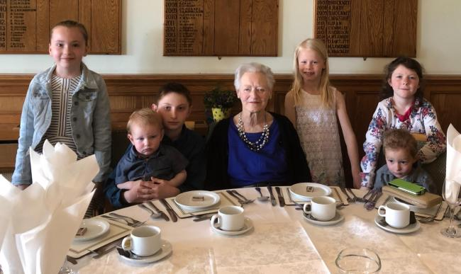 Nancy Richardson of Pickering celebrating her 80th birthday with six of eight great grand-children (the other two were being shy)